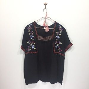 NWOT old navy black embroidered blouse XL